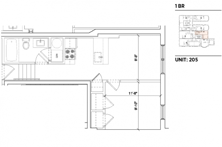 1201 N. Charles sample 1BR floorplan_205