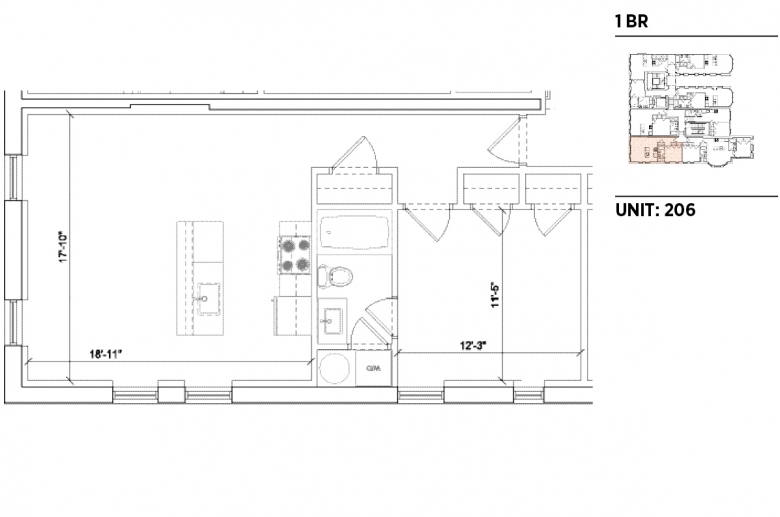 1201 N. Charles sample 1BR floorplan_206