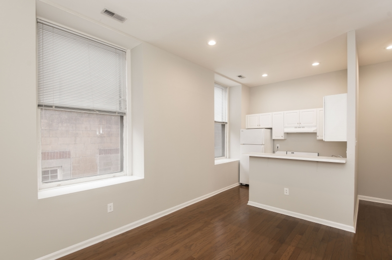 Open living, dining, and kitchen space