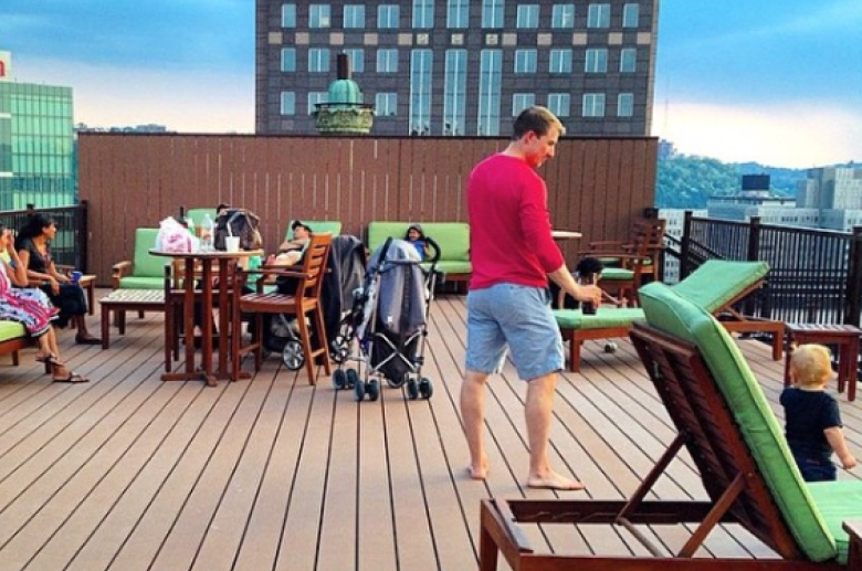 Fully furnished resident rooftop deck