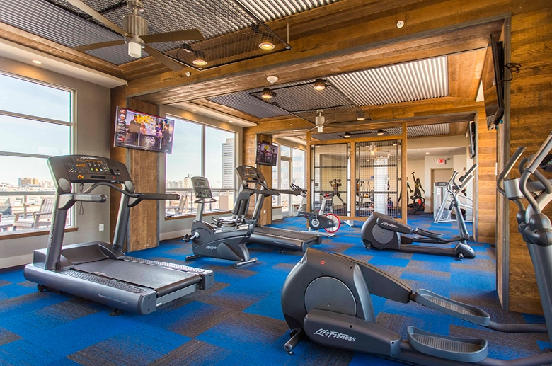 Resident sky box with state-of-the-art fitness center
