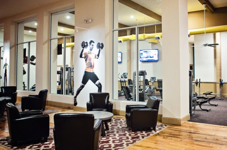 The Cottages at The Mills lounge outside the fitness center