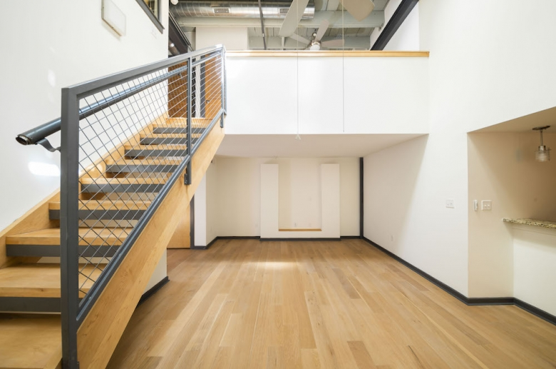 Lofts at Franklin living space with staircase