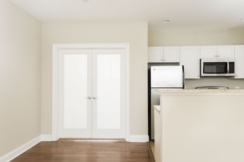 French doors leading to bedroom