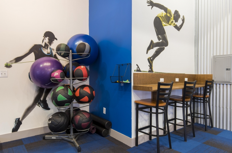 Fitness center seating area