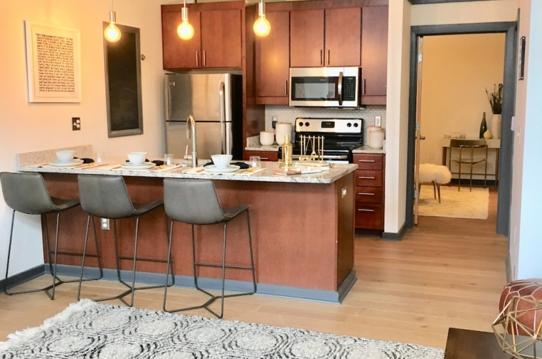 Lofts at Franklin kitchen and living space