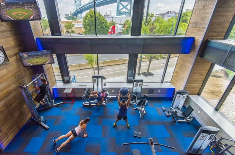 Top view of the state-of-the-art fitness center at One Water Street