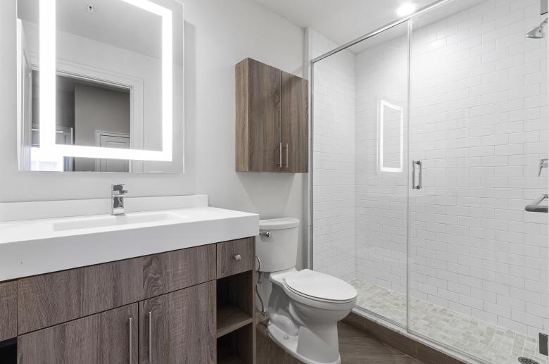 1300 Chestnut Street modern bathroom with unique wooden details
