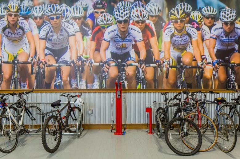 Bike pump in the bike room