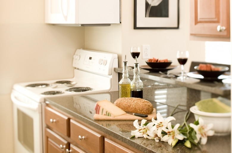 Open concept kitchen with granite countertops