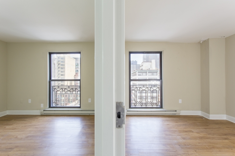 Living room with adjacent bedroom