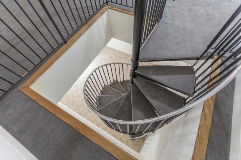 Spiral stairs at 1222 Arch Street.