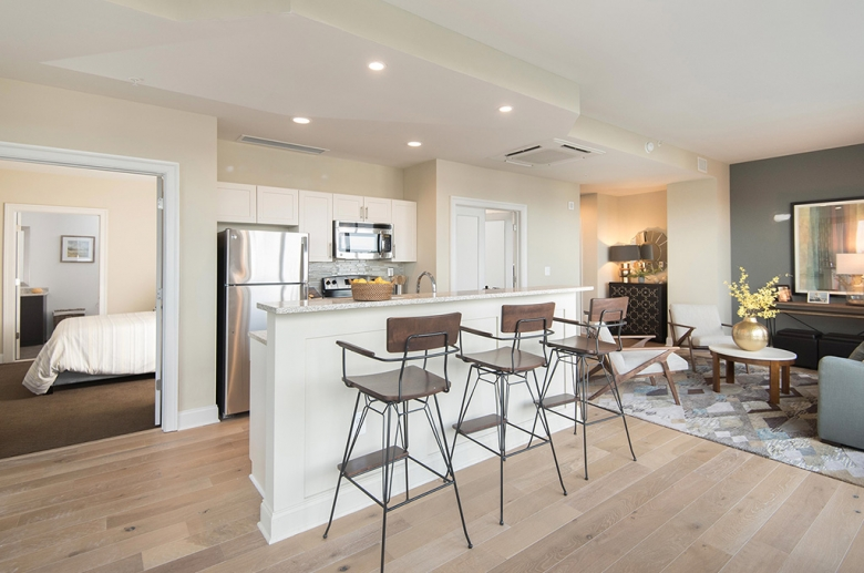 One Water Street under-mounted sinks and breakfast bar