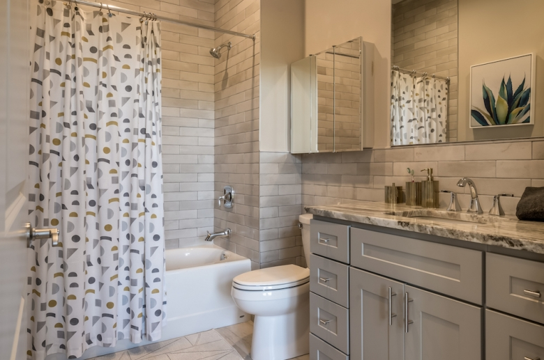 The Cottages at The Mills model unit modern bathroom