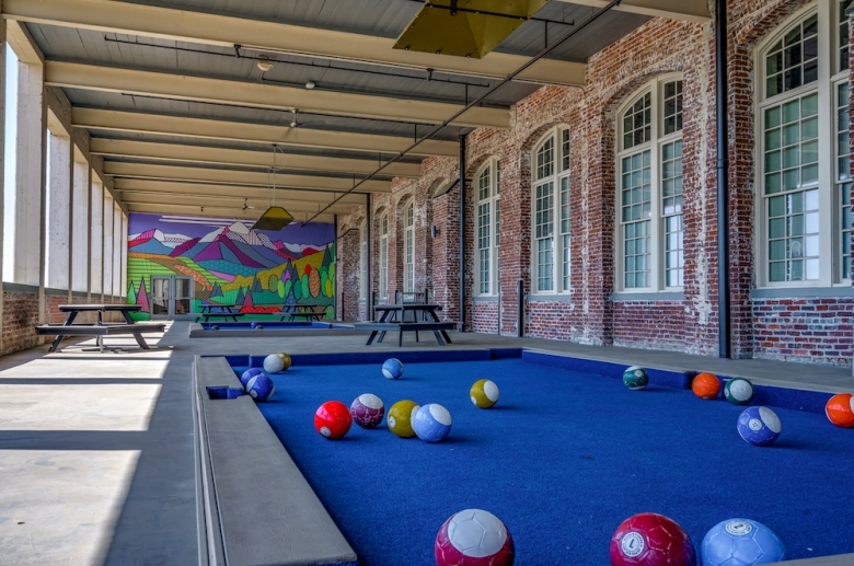 Life-size foot billiards at The Cottages at The Mills